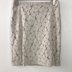 Ann Taylor Lace Embroidery Pencil Skirt